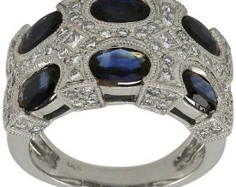 Blue Sapphire Ring In 14k White Gold With Diamond Accents & Milgrain Decoration