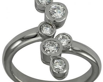 Right Hand Ring Anniversary Rings With Six Bezel Set Diamonds On a Split Shank