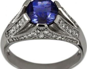 Tanzanite Rings Tanzanite Engagement Ring Vintage Diamond Ring 14K White Gold