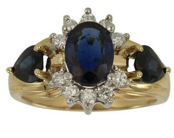 Blue Sapphire Ring With Blue Sapphires With Diamonds In 14K Yellow Gold