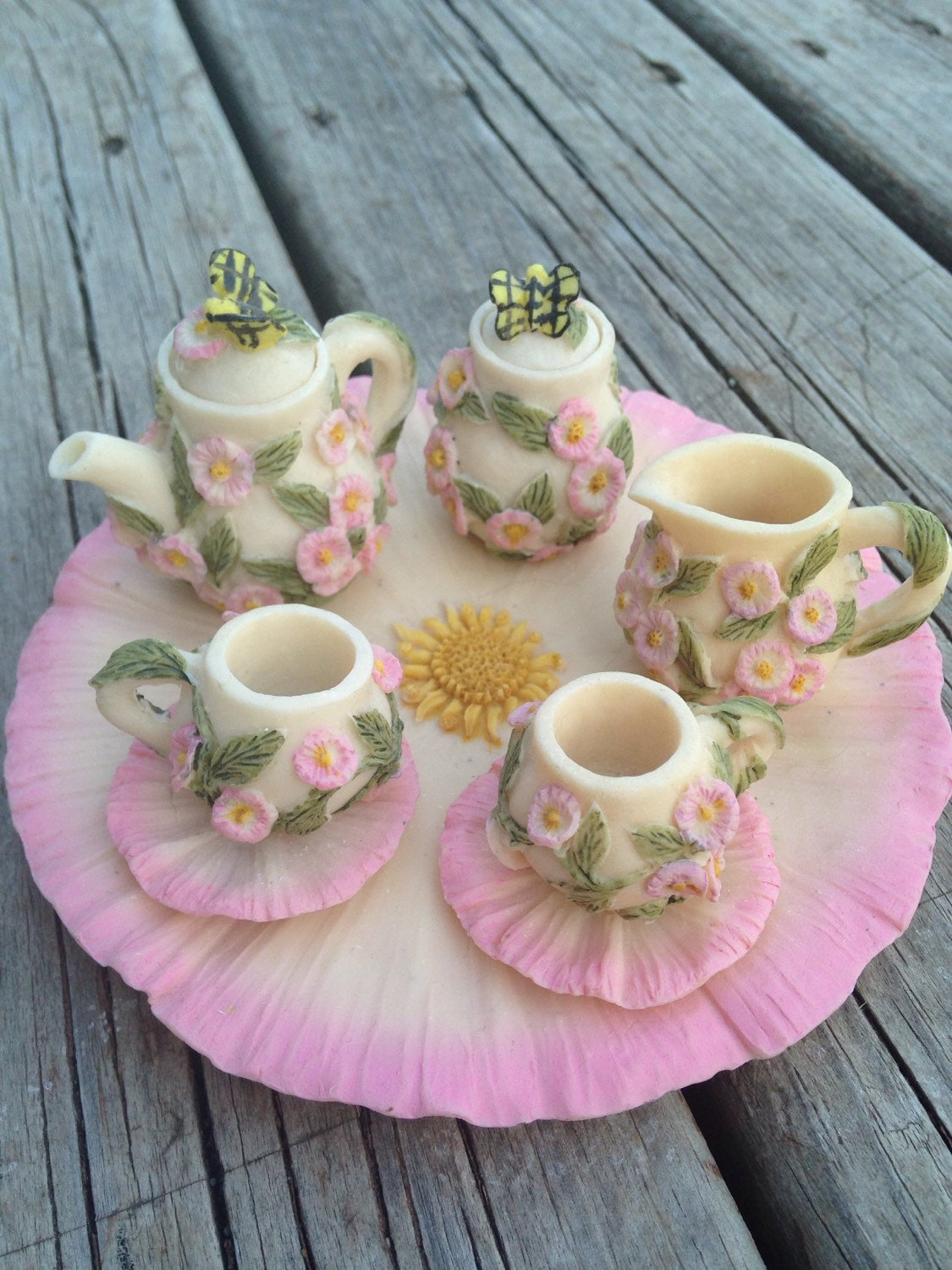 miniature poly resin flower tea set fairy garden dolls. Black Bedroom Furniture Sets. Home Design Ideas