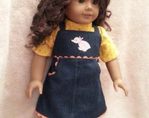 Homemade 18 Inch Doll Clothes :  Blue Jean Jumper With Duck Applique And Orange Ric Rac And Yellow Blouse