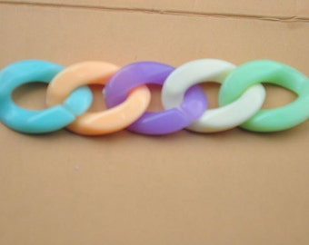 50pcs assorted chain,Plastic open chain,colorful chain links,Acrylic Chain Links,Plastic Chain Links,Open Link,