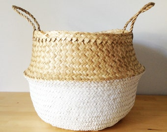 Dipped Dyed White Belly Basket Seagrass Panier Poule Large Medium Nursery Storage Planter Picnic Bag Toy storage Home Sweet Home Organizer