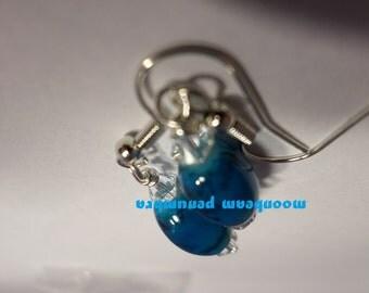 Black Veined Blue Earrings