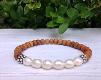 Sandalwood Fresh Water Pearl Yoga Bracelet, Wrist Mala Buddhist Bracelet, Meditation Beads, Tibet Gemstones, Prayer Beads, Healing Yogi Gift