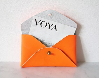 Leathercase for Business Cards, color: neon orange