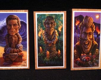 Set of 3 Tiki Retro Surfing Magnets - Graffics by Tom Thordarson