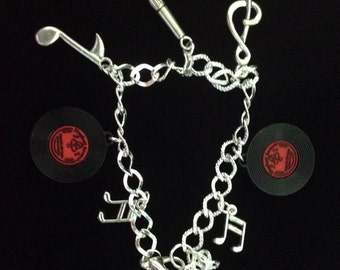 No.207 Red and Silver Music Charm Bracelet