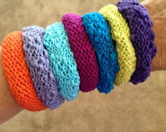 Hand knit yarn bracelets