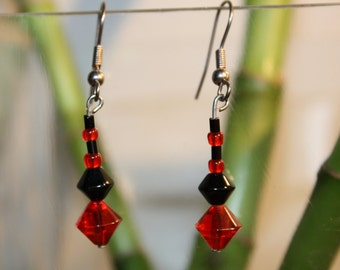 Earrings red and black