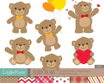 Teddy Bears Digital Clipart and Papers