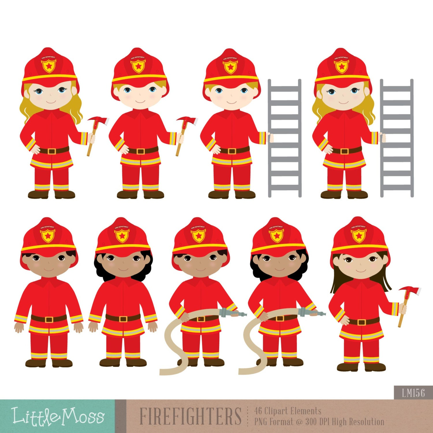 Firefighters Digital Clipart, Fireman Clipart from ...