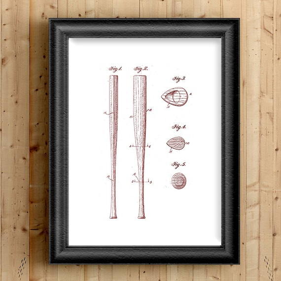 Vintage Baseball Wall Decor : Baseball bat vintage patent prints