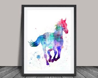 Horse Watercorlor Art, Animal Art, Watercolor Art, Watercolor Print, Wall Art Print, Art, Home Decor Gift, Watercolor Poster (08)