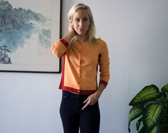 The Madison Top- Handloomed High end Retro Colorblock Crop Cardigan Knit Sweater