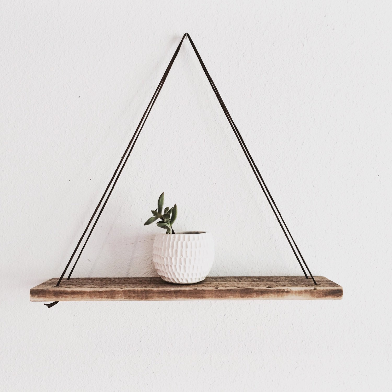 Wood Swing Shelf Leather & Reclaimed Wood Urban Wood Shelf