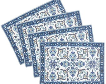India Block Print Placemats Set of 4 in Blue and White