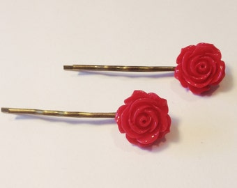 Hair Slides, Bobby Pins, Hair Grips, Vintage Style Set of 2 Red with Rose Cabochon and Antique Bronze Effect Bobby Pins