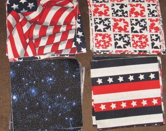 40 Patriotic 4 inch Quilt Squares - Free Shipping!