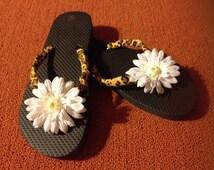 Black with Animal Print Cheetah Style Flip Flops Size Large 7-8 womens  Weddings Birthdays Beach Wear