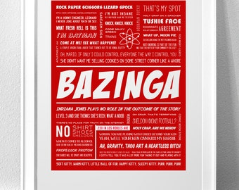 "BIG BANG THEORY, ""Bazinga"" Typography Print"