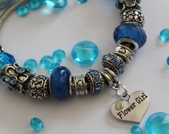 Bridesmaid / flower girl charm bracelet, ladies wedding gift