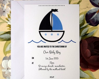 Boat Personalised Boy Christening Invitation. A6 with Envelope