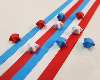 Origami Lucky Star Paper Strips Blue Red and White Star Folding - Pack of 100 Strips