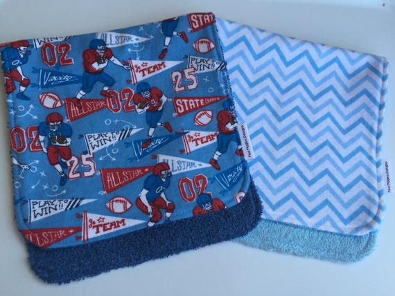 Football and Blue Chevron Burp Cloths