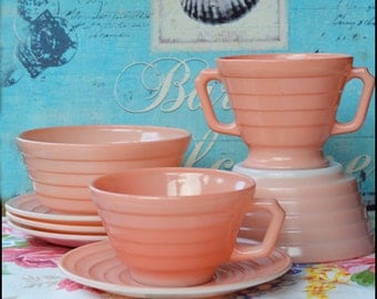 Hazel Atlas Pink Platonite Moderntone / Starter Collection / Cereal Bowls, Cup, Sugar Bowl, and Saucers