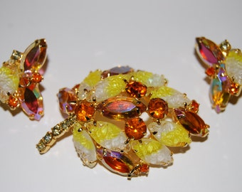 Juliana D&E Topaz, AB Topaz and Textured Yellow Givre Rhinestone Brooch and Earring Demi Parure