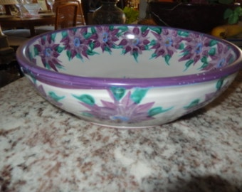 ART POTTERY BOWL with Purple Flowers