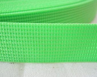 5 Yards, 1.25 inch (3.2 cm.), Polypropylene Webbing, Neon Green, Key Fobs, Bag Straps, Purses Straps, Belts, Tote Bag Handle.