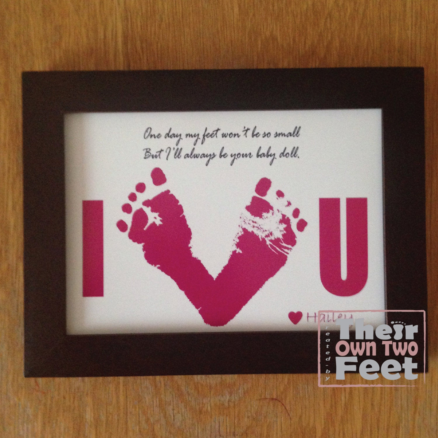 valentine's day gift from baby to daddy - Baby Footprints Card for New Dad or Mom Gift from Baby Girl