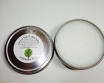 organic monoi hair and skin balm, tiare essence coconut oil