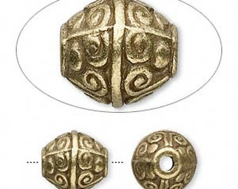 Antiqued brass bead, earthy bead, rustic bead, Aztec bead, 12x11mm, 4 each, D494