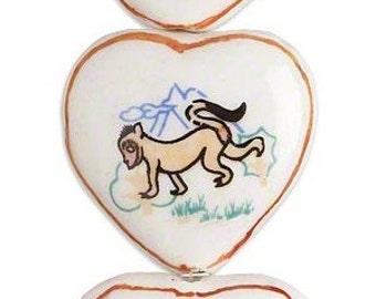 Heart Bead, Chinese zodiac, year of the monkey, porcelain heart, 30x28mm-32x30mm, 2 each, D463