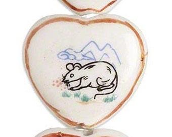 Heart Bead, year of rat, porcelain heart, Chinese Zodiac, 30x28mm, 2 each, D465