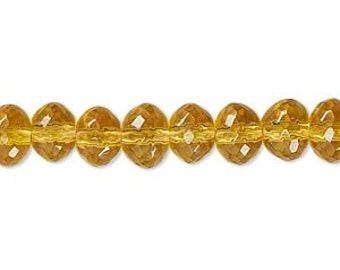 """Golden yellow Beads, glass beads, faceted beads, 8x6mm, 12"""" string, 60 beads, D442"""