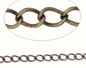 Antiqued Brass Chain, twisted curb chain, 5x3mm curb, 3 feet, unsoldered chain, D496