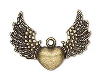 Winged Heart Charm, antiqued  brass charm, Steampunk, winged heart, Biker wing, boho pendant, 35x26mm, 2 each, D611