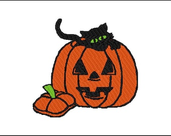 Halloween kitty in a pumpkin Embroidery Pattern Design