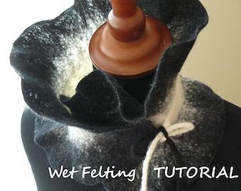Wet felting tutorial- Neck warmer- ruffle scarf- Felting made easy, beginner- How to felt- Making merino wool scarf- PDF, e-book pattern