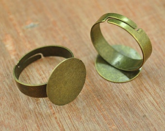Ring,Antiqued Bronze Ring Blanks Adjustable Ring Blanks, 15mm Pad 20 pieces Blank Rings for Flowers.