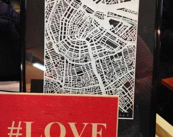 Amsterdam, paper cut map, hand cut map, Amsterdam vector map, paper cut art, wall decor