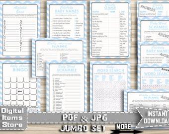 Baby Shower Games - Baby Shower Game Chevron - Baby Shower Printable - Baby Shower Games Blue - Baby Shower Games Boy Download - cb1