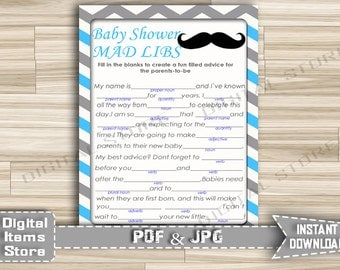 Baby Shower Mad Libs Blue Gray Chevron with Mustache, Advice Parents Cards - Printable Mad Libs with Mustache - Instant Download - m1