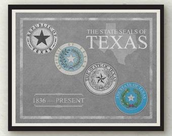 State Seals of Texas Gray Blue Brown Green Colors Print Wall Art Decor Photo Print
