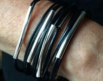 black leather bangles, set of 10 bracelets